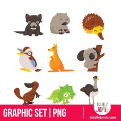 Cute Cartoon Australian Animals Icon Set