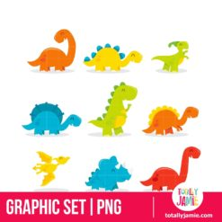 Cute Fun Cartoon Dinosaurs - PNG Clip Arts