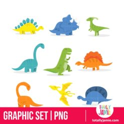 Happy Cartoon Dinosaur Set - PNG Clip Arts