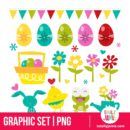 Happy Easter Love Design Elements - PNG Clip Arts