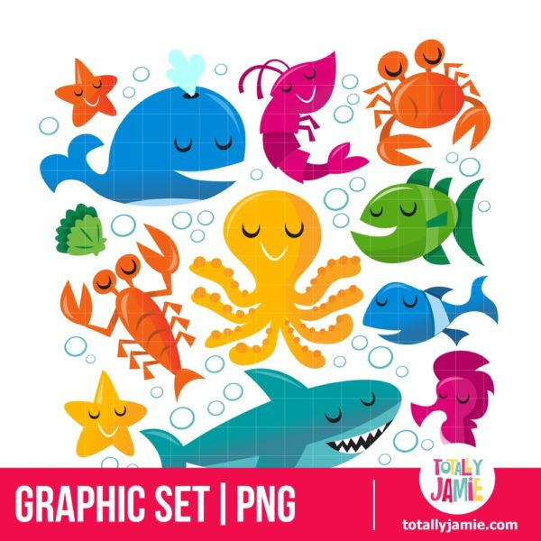 Happy Fun Cartoon Sea Creatures Set