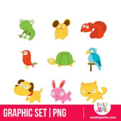 Happy Pet Shop Animals Icon Set