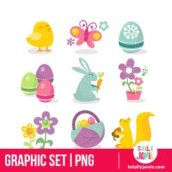 Happy Retro Easter Icons - PNG Clip Arts