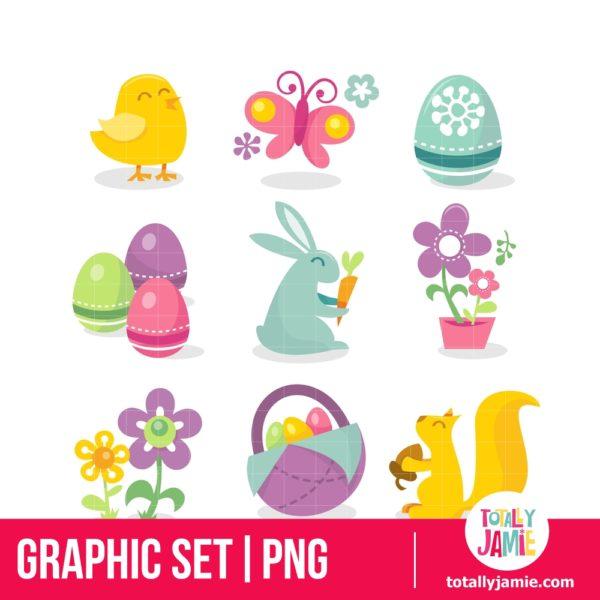 Happy Retro Easter Icons