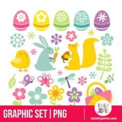 Happy Retro Easter Spring Clip Arts - PNG Clip Arts
