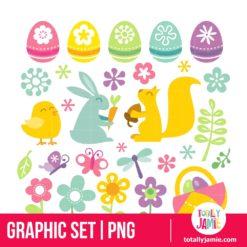 Happy Retro Easter Spring Clip Arts