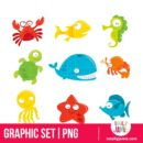 Happy Silly Cute Sea Animals Set - PNG Clip Arts