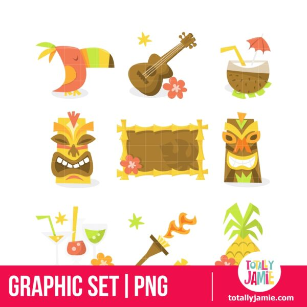 Luau Tiki Party Icons
