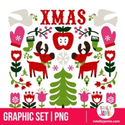 Nordic Christmas Design Elements - PNG Clip Arts