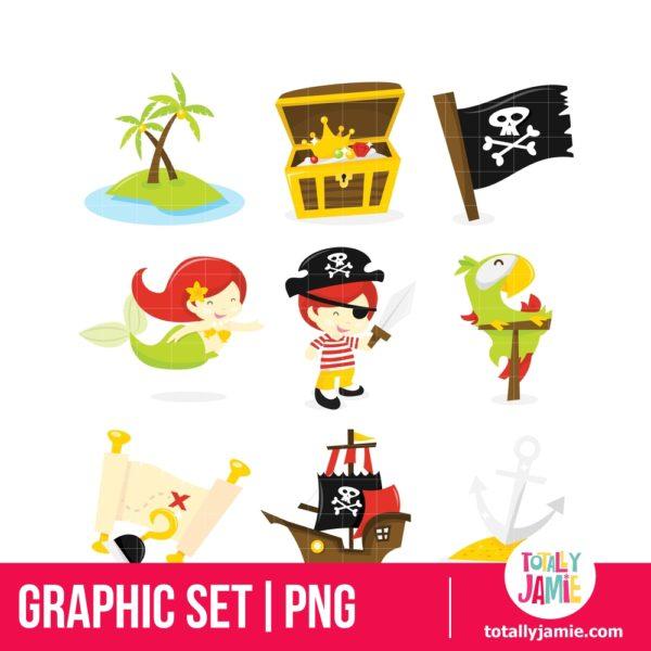 Pirate Treasure Island Icon Set