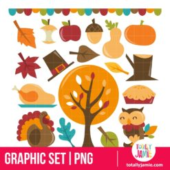 Retro Autumn Festival Set - PNG Clip Arts
