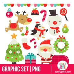 Retro Cute Christmas Set - PNG Clip Arts