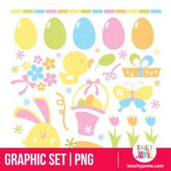 Retro Easter Set - PNG Clip Arts