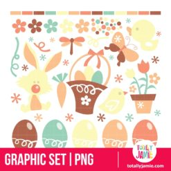 Retro Easter Spring Set - PNG Clip Arts