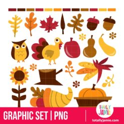 Retro Fall Harvest - PNG Clip Arts