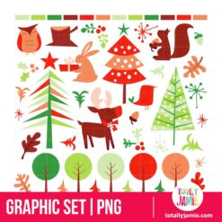 Retro Festive Forest Holiday Design Elements - PNG Clip Arts