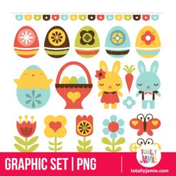 Retro Folk Art Easter - PNG Clip Arts
