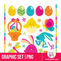 Retro Happy Easter Set - PNG Clip Arts