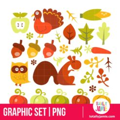 Retro Harvest Design Elements - PNG Clip Arts