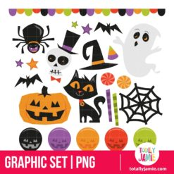 Retro Haunted Halloween Set - PNG Clip Arts