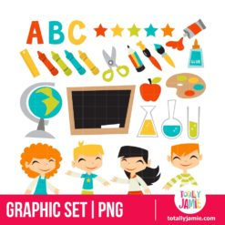 Retro Kids Back To School Set - PNG Clip Arts