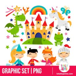 Retro Magical Fairytale Kingdom Set - PNG Clip Arts