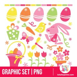Retro Spring Easter - PNG Clip Arts