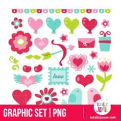 Retro Sweet Valentine Graphic Set - PNG Clip Arts