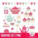 Retro Tea Party Design Elements