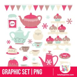 Retro Tea Party Design Elements