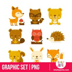 Super Cute Woodland Creatures Set - PNG Clip Arts