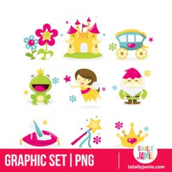Whimsical Fairy Tale Princess Icon Set - PNG Clip Arts