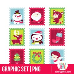 Whimsical Fun Christmas Stamps - PNG Clip Arts