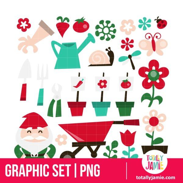 Whimsical Retro Gardening Clip Arts