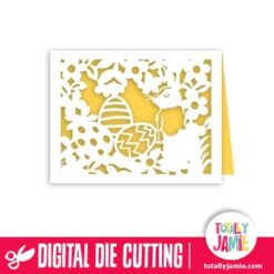 A2 Floral Nature Easter Rabbit Egg Card