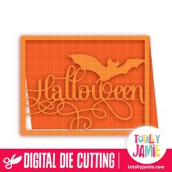 A2 Halloween Fancy Title Bat Card - SVG Cut Files