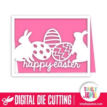 A2 Happy Easter Bunnies Eggs Card