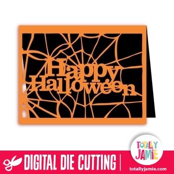 A2 Happy Halloween Spider Web Card