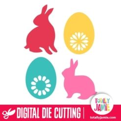 Assorted Easter Bunnies Eggs Set 2 - SVG Cut Files