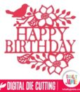Bird Floral Flourish Happy Birthday Split Title - SVG Cut Files