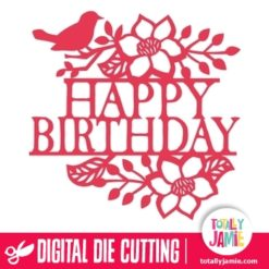 Bird Floral Flourish Happy Birthday Split Title