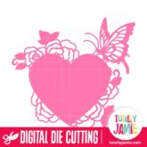 Buttefly Rose Flowers Heart - SVG Cut Files