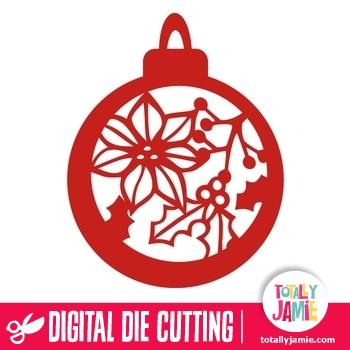 Christmas Bauble Holly Poinsettia