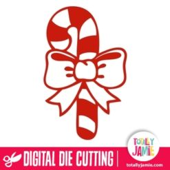 Christmas Candy Cane Ribbon Cutout 1