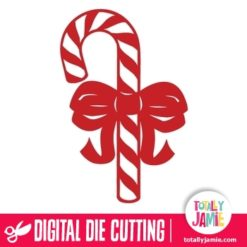 Christmas Candy Cane Ribbon Cutout 4