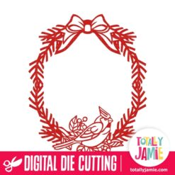Christmas Cardinal Bird Bow Wreath - SVG Cut Files