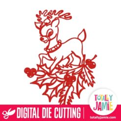 Christmas Holly Decoration Cute Reindeer - SVG Cut Files