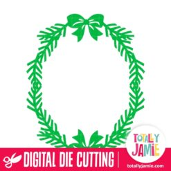 Christmas Holly Ribbon Frame - SVG Cut Files
