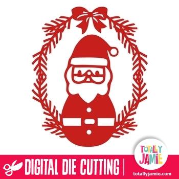 Christmas Holly Ribbon Frame Cute Santa