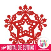 Christmas Holly Star Decoration - SVG Cut Files